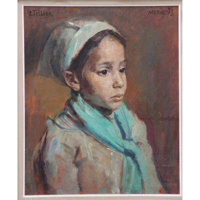 Peinture Orientaliste De Raymond Tellier Petite Fille Au Bonnet Vert
