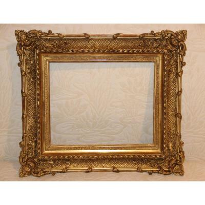 19th Century Golden Frame In Wood And Stucco
