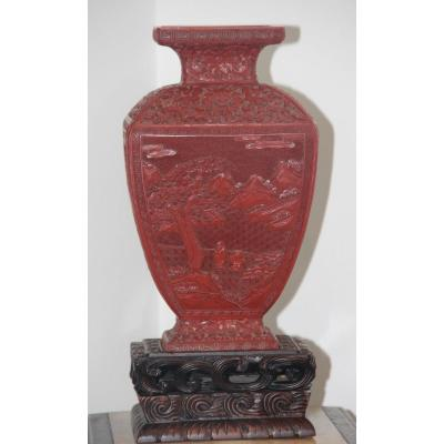 Old Nineteenth Cinnabar Lacquer Vase From China