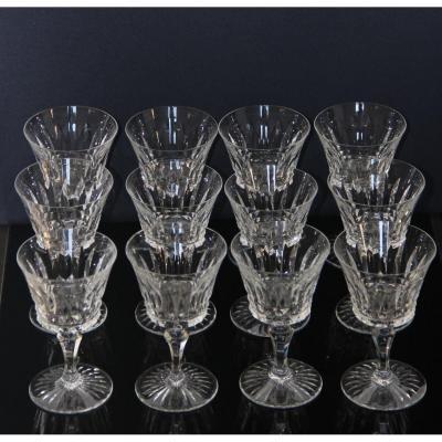 12 Verres à  Vin En Cristal Taillé De Baccarat Modèle Buckingham / Piccadilly