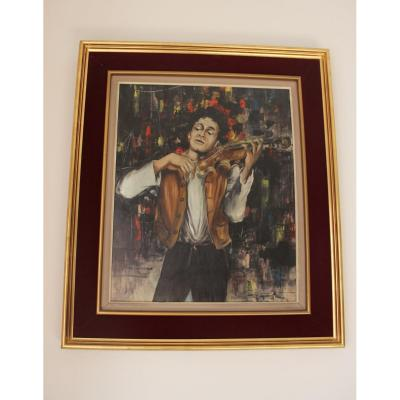 Painting Representing A Violinist In Paris Signed XXth Barn