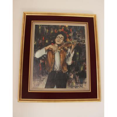 Peinture Représentant Un Violoniste à Paris  Signé Grange XXème