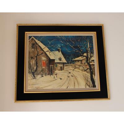 Peinture Représentant Des Maisons Sous La Neige Signé Grange XXème