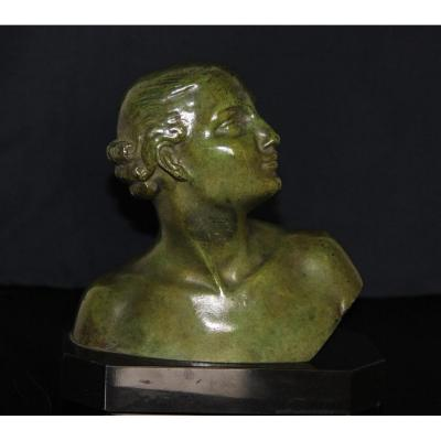 Lucien Alliot 1877-1967 Bust Of Young Girl In Bronze With Green Patina