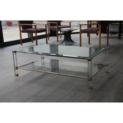 Pierre Vandel Grande Table Basse En Altuglas Et Laiton Doré XXème