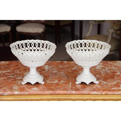Pair Of Openwork Cups In Paris Porcelain D XIXth
