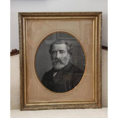 Large Portrait Of A Man In Charcoal Signed Wood Frame & Golden Stucco