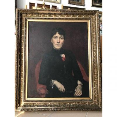 Huile Sur Toile Grand Portrait De Dame Du XIXéme  Signé