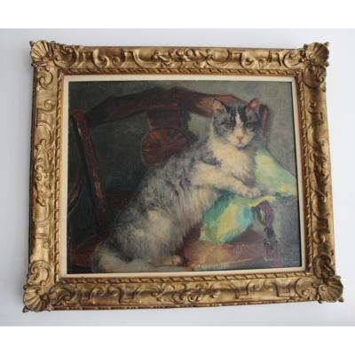 Madeleine Tombu  1897-1995 Peinture Représentant Un Chat Sur Un Fauteuil