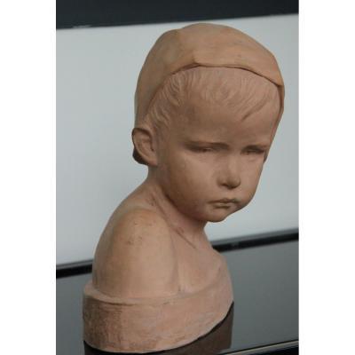 Marie-anne Cranney -franceschi Bust Of Child In Bonnet Susse Fréres