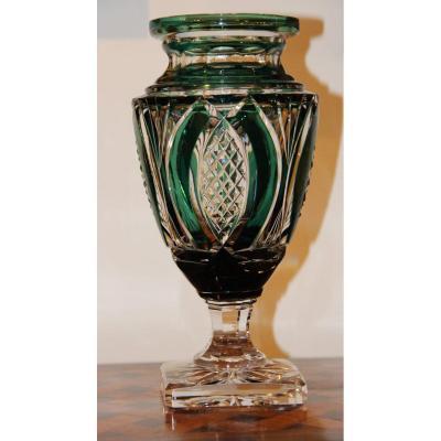 Val Saint Lambert Vase En Cristal Taillé Modèle Jupiter