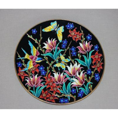 Large Enamel Dish From Longwy Art Workshop Knight Decor Butterflies