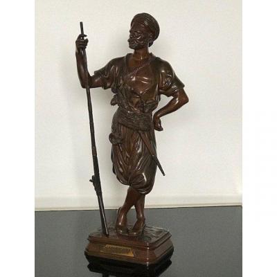 Didier Debut (1824-1893) Bronze Sculpture Janissary Prix De Rome