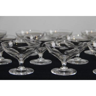 12 Baccarat Art Deco Crystal Champagne Glasses