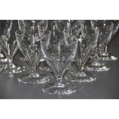 12 Baccarat Art Deco Crystal Water Glasses