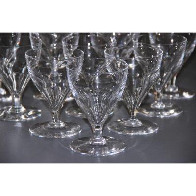 12 Baccarat Art Deco Crystal Wine Glasses