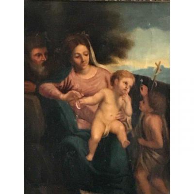 Sainte Famille Avec Saint Jean Baptiste Peinture XVII ème