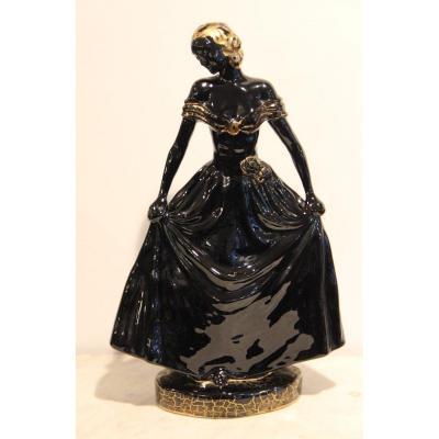 Boch La Louvière Barjansky Catherine / Charles Catteau  Jeune Femme En Céramique