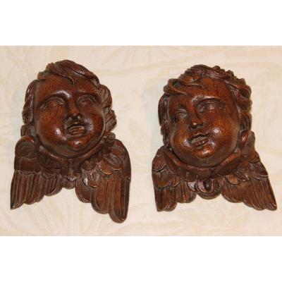 Têtes D'angelots En Bois Sculptés  XVIIIéme