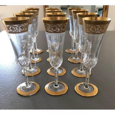 Cristal Saint Louis Modèle Thistle Or  12 Flûtes à Champagne