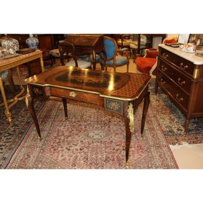 Bureau  Table d'époque Napoléon III En Palissandre et  Marqueterie Florale