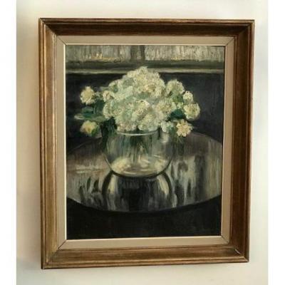 Peinture De Pierre Scoupreman Le Bouquet Blanc  1927