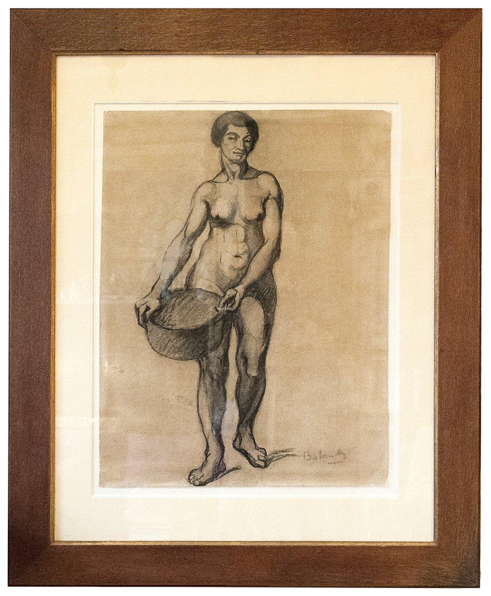 Gaston Balande (1880-1971), Etude de femme, dessin au fusain,  XXe Siècle