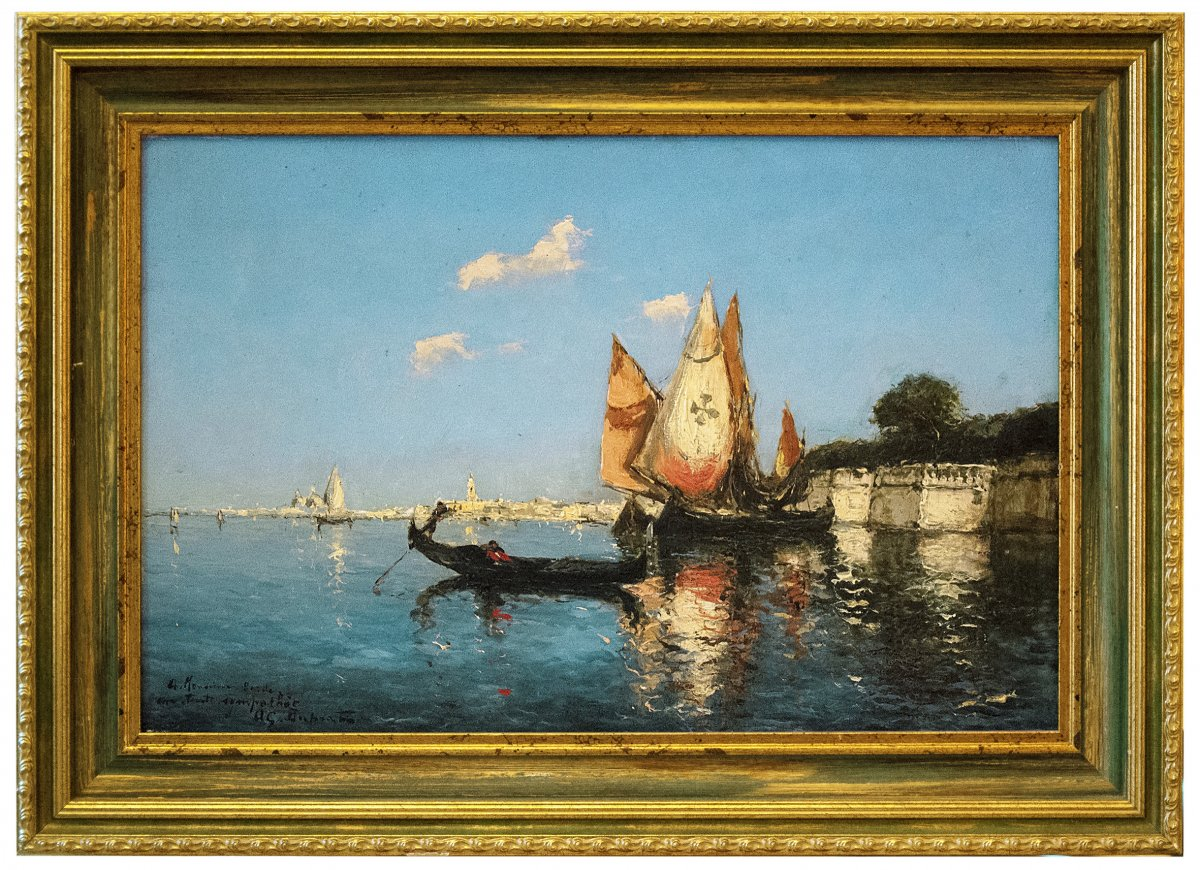 Duprat (1882-1974)Gondole et voiliers à Venise, Huile sur panneau, Début XXe Siècle