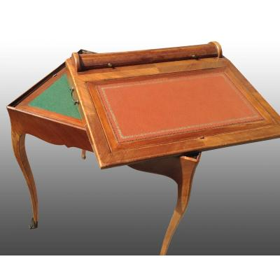 Rare petit meuble à transformation, écritoire et table à jeux, style Louis XV-Transition