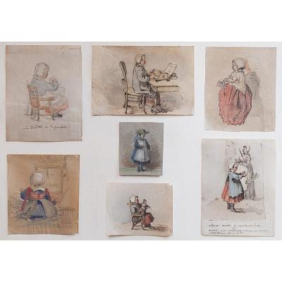 G. Henry (1838-1902), Deux planches de carnets de dessins: la fille de l'artiste, 1866-1869
