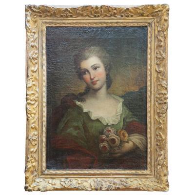 Suiveur de Jean-Marc nattier (1685-1768), Jeune femme tenant un bouquet de roses