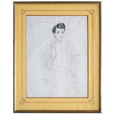 David Ossipovitch Widhopff (1867-1933), Portrait de femme, dessin, 1906