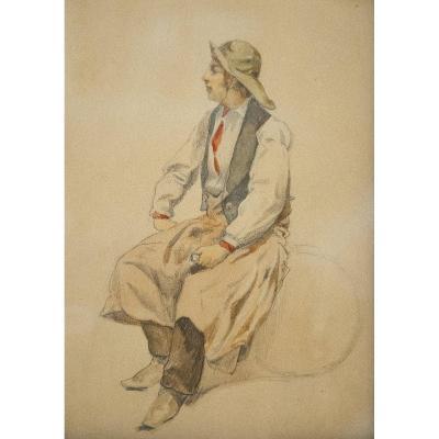 Ecole française, XIXe siècle, Pêcheurs, dessins à l'aquarelle et crayon (paire)