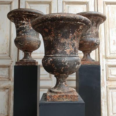 Ensemble De 3 Grands Vases En Fonte 19ème
