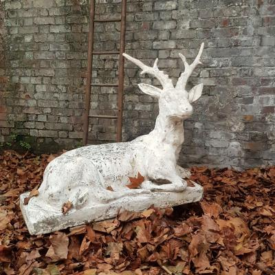 Garden Deer In Concrete Patina D Origin Around 1920 Tbe