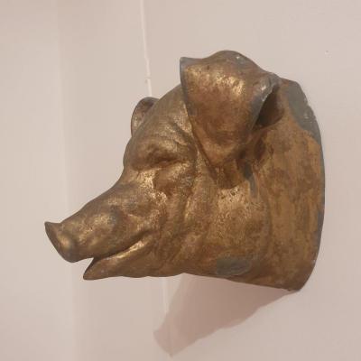 Enseigne de boucherie Tête De Cochon En Zinc
