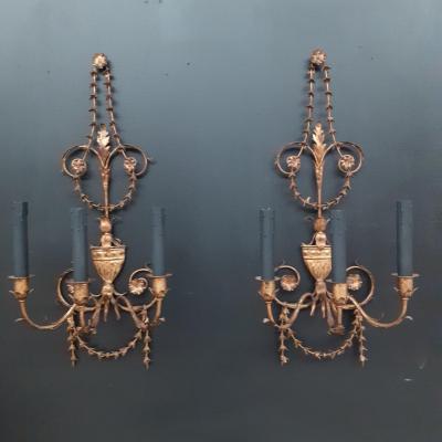 Pair Of Sconces Of St XVI In Metal