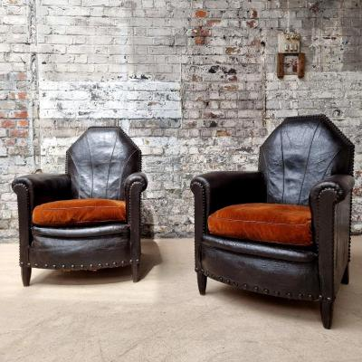 Pair Of 1925 Leather Club Chairs
