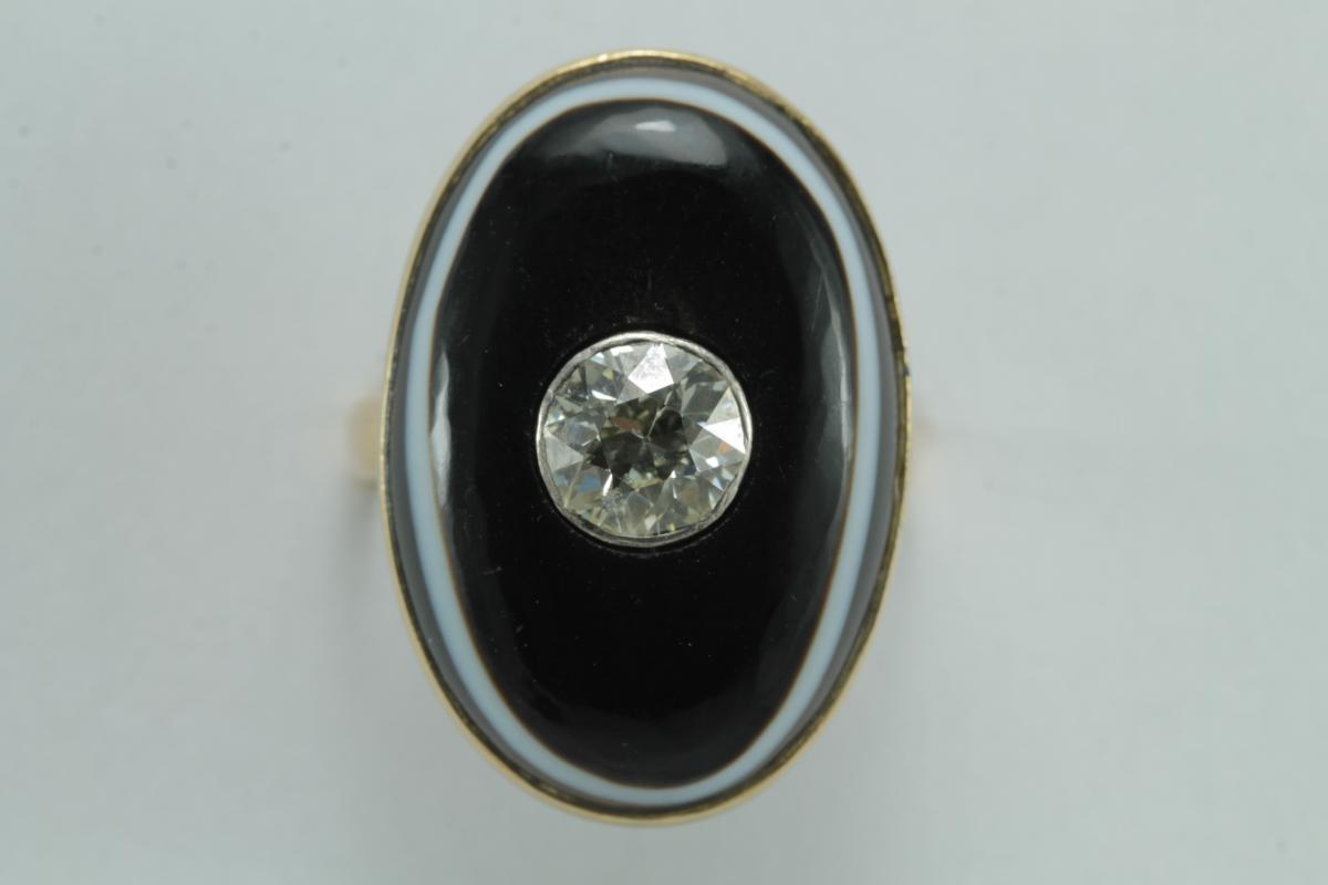 Bague Ancienne Or Diamant Agate