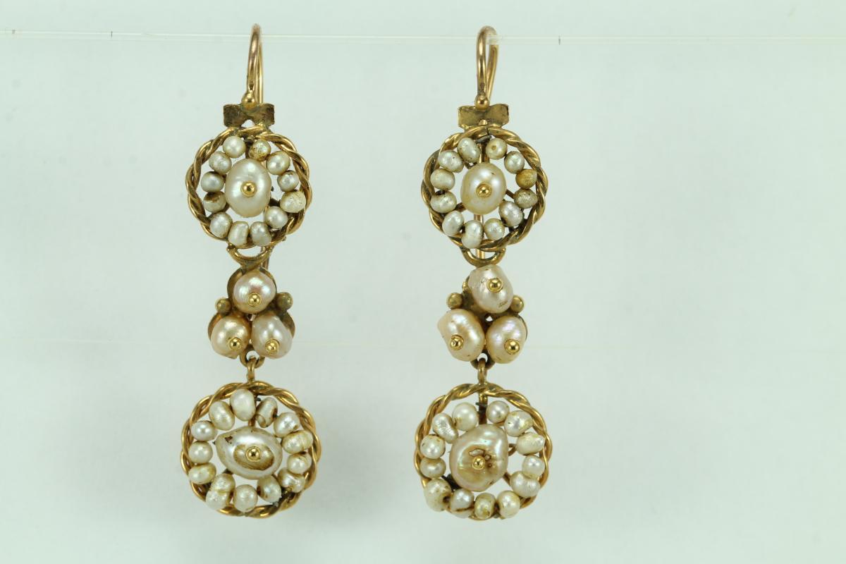 Boucles d'Oreilles Anciennes Or Perles Fines