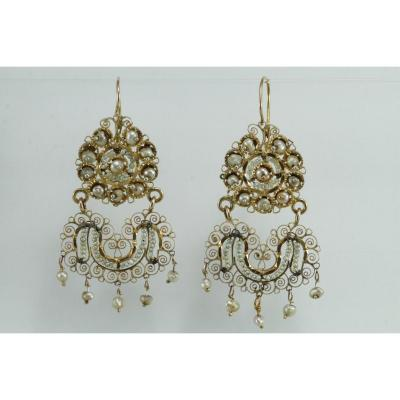 Boucles d'Oreilles Anciennes Or Filigrane Perles Fines