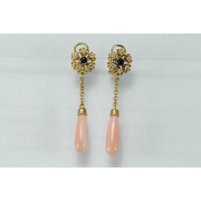Boucles d'Oreilles Vintage Or Corail Diamants