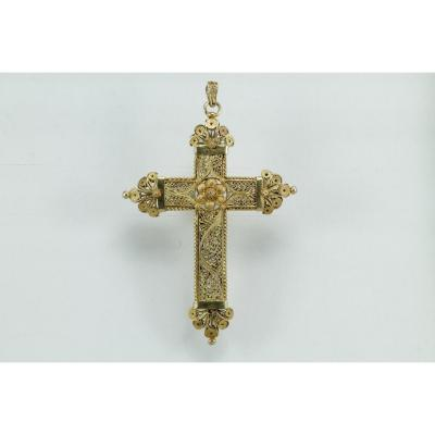 Croix  pendentif ancienne or filigrane