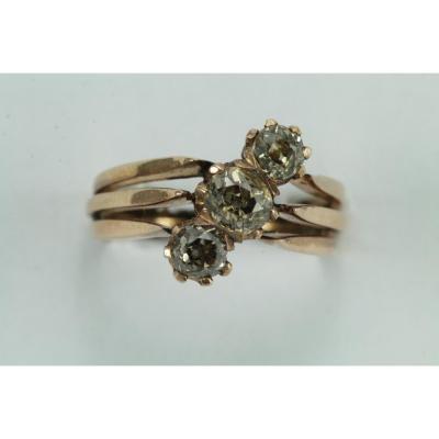 Bague Anciennes Or Trois Diamants