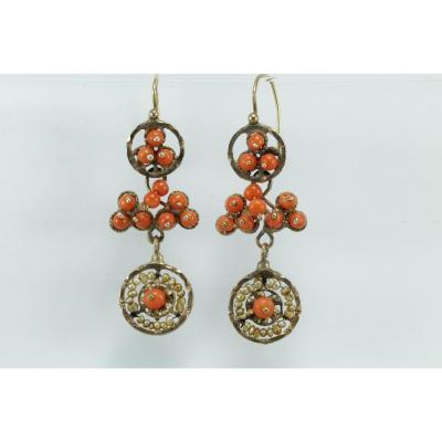Boucles d'Oreilles Anciennes Or Corail Perles Fines
