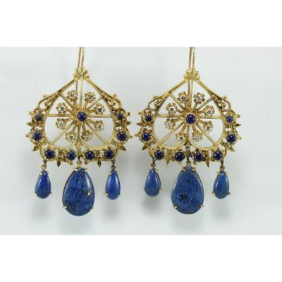 Boucles d'Oreilles Vintage Or Lapis Lazuli Diamants
