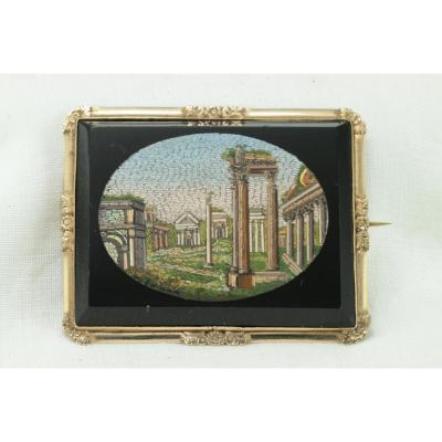 Broche Ancienne Or Micromosaic