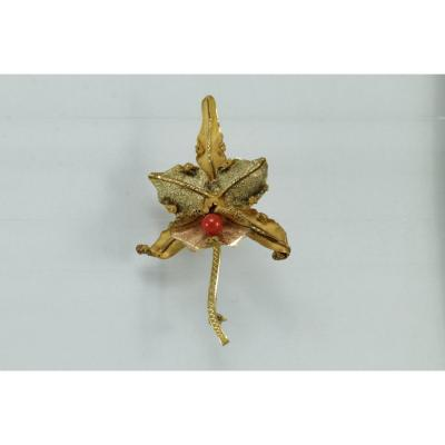 Broche Ancienne Or, Corail.