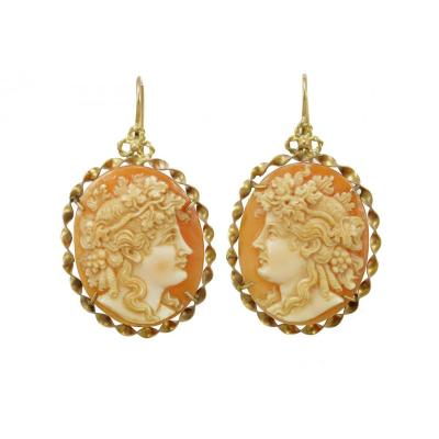 Boucles d'Oreilles Anciennes Or Camee