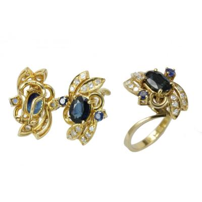 Vintage Gold Sapphires Diamonds Earrings